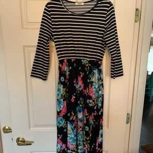 Striped and floral Eloges maxi dress